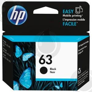 Cartouche d'encre Noir d'origine OEM Vivera Hewlett Packard F6U62AN (HP 63) Haut Rendement