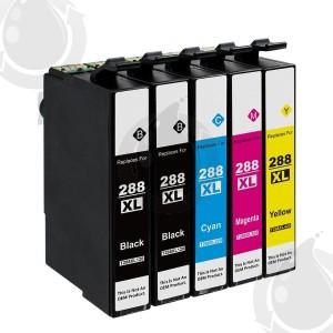 Ensemble de 5 Cartouches d'encre Compatible Epson 288XL Haut Rendement